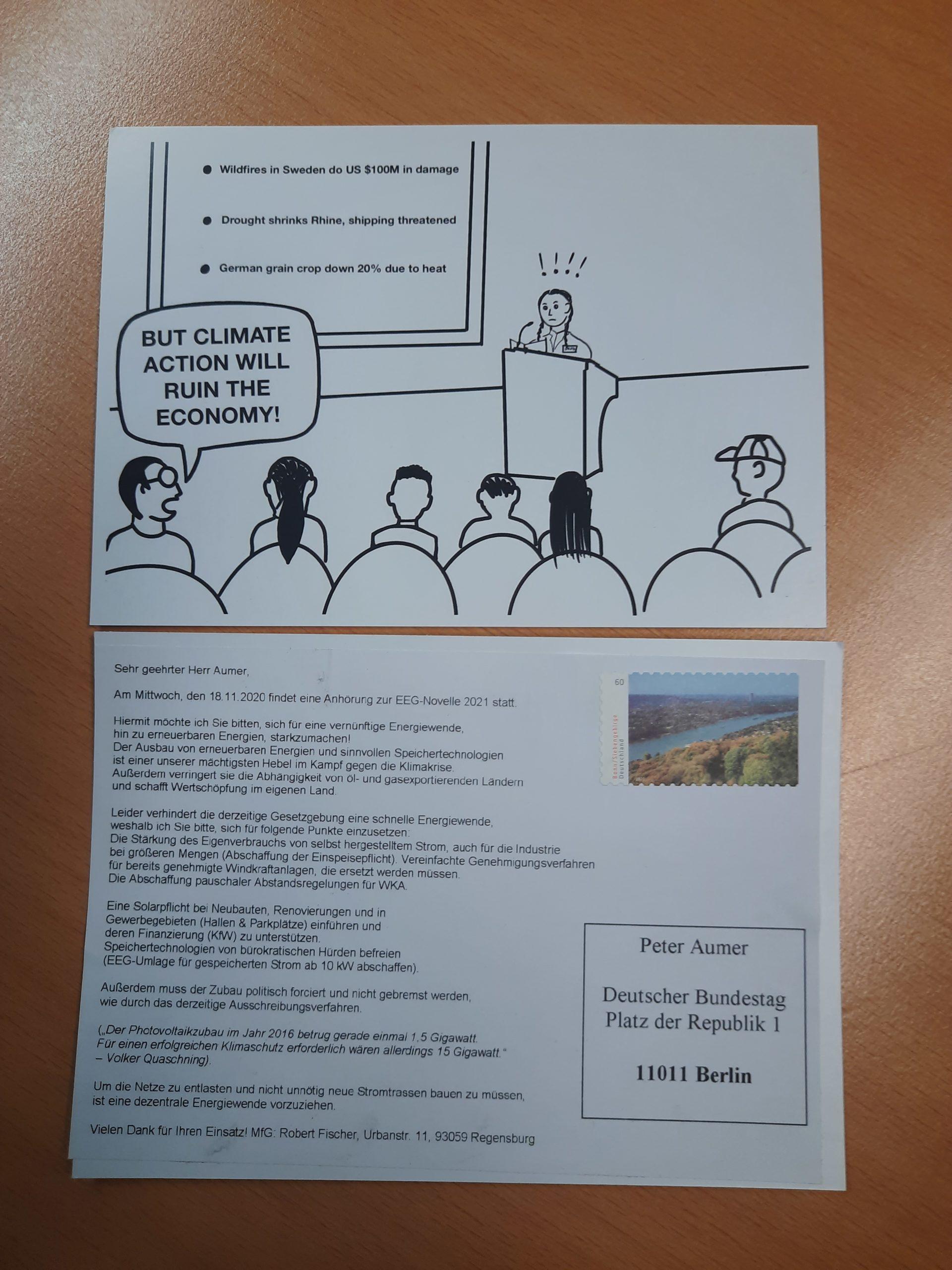 Greta-Postkarte mit EEG-Novellen-Text